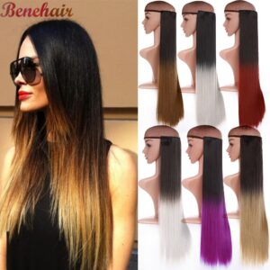 BENEHAIR Long Straight Clip in one Piece Synthetic Hair Extension 5 Clips Fake Hair Pieces For Women Ombre Brown Black Hair