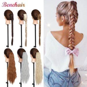 BENEHAIR Ponytail Long Fishtail Braid Hair Synthetic Hair Extension Craw On Drawstring Braiding Ponytail Fake Hairpiece Women