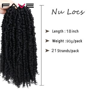 Fave Nu Locs Crochet Hair Braids 18Inch Faux Locs Curly Synthetic Hair Pre Loop Crochet Braiding 21Strands/Pack For ererybody