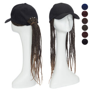 Snoilite 18″ black Baseball Cap Hat With box braiding hair extension synthetic Hip-hop Integrated hair wig with dad hat Unisex