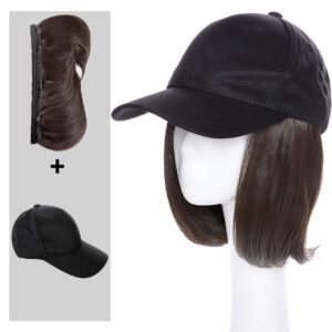 Snoilite detachable bob hair with baseball cap synthetic hat with hair wig Black Brown Straight hair Short Wigs for Women