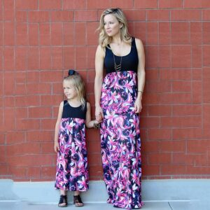Summer Family Outfits Matching Clothing Instagramable Mommy And Me Dresses Casual Floral Flower Tank Maxi Long Dress Sundress