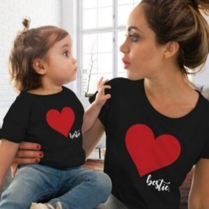 Summer Pure Color Heart Pattern Short-sleeved Shirt Outfit Parent-child Mom And Daughter Instagramable Family Matching Outfits
